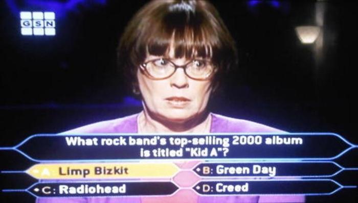 Твоё лицо, когда узнаёшь первые 4 названия рок-групп в жизни Кто хочет стать миллионером, Рок, 2000-е