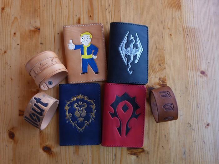 Обложки и браслеты Skyrim, Fallout, World of Warcraft, Тиснение по коже, Рукоделие без процесса, Длиннопост