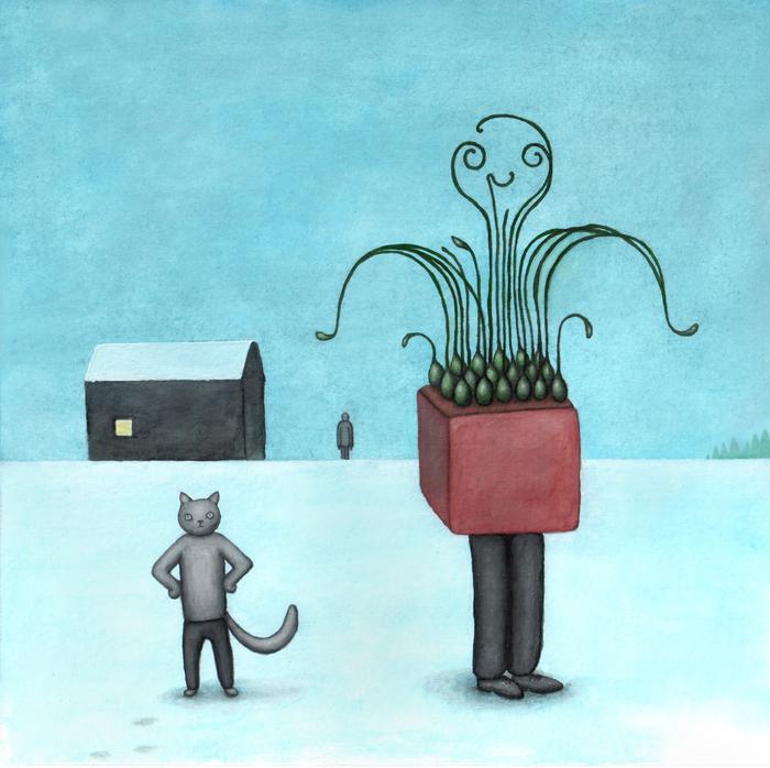 Кот в штанах зимой Кот, Зима, Дом, Растения, Человек, Гуашь, Картина