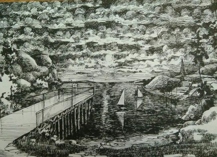 Пирс Арт, Рисунок, Рисунок ручкой, Пирс, Море, Закат, Графика, Гелевая ручка