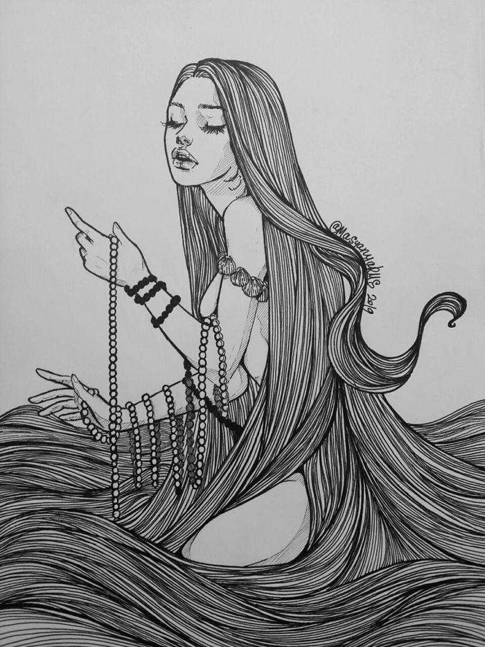Песня Masyanyarus, Рисунок, Девушки, Сирена, Волосы, Графика, Линер