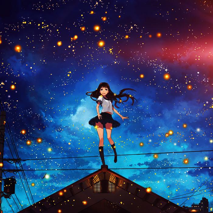 Милая девушка на фоне ночного неба