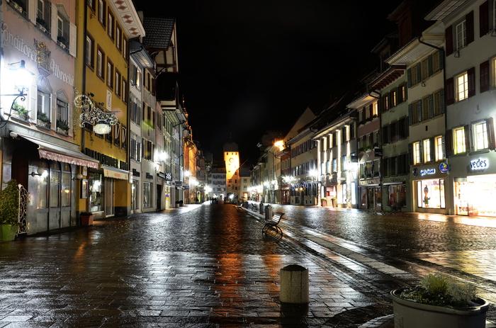 Ночной городок где-то в Германии. Фотография, Германия, Ночь, Город