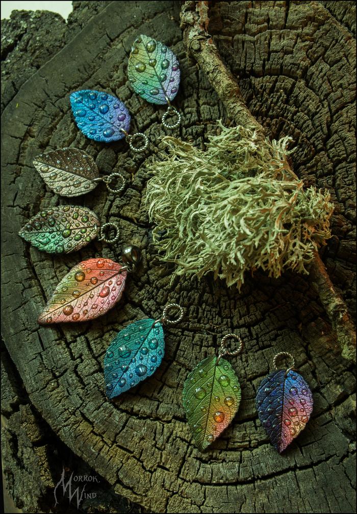 Листочки из полимерной глины, кулоны Рукоделие без процесса, Полимерная глина, Своими руками, Кулон, Листья, Осенние листья, Длиннопост