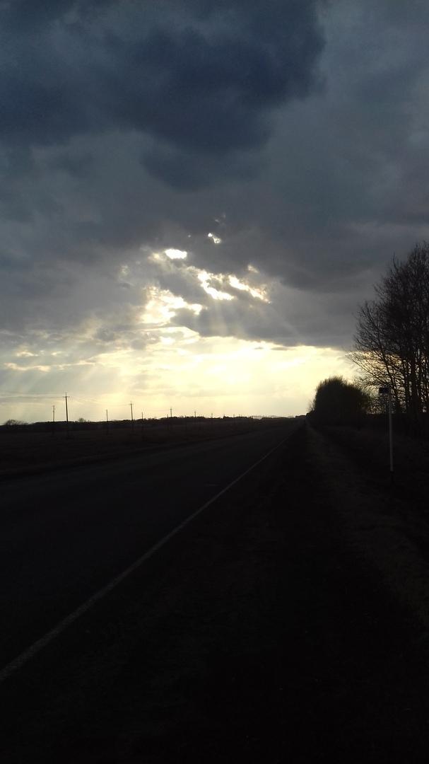 Остановился на дороге Природа, Дорога, Небо, Закат, Красота, Длиннопост
