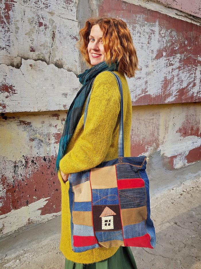 Сумки из джинсов Женская сумка, Ручная работа, Пэчворк, Длиннопост