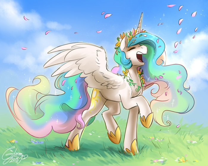 It's Spring! My Little Pony, Princess Celestia, Gloomy, Весна, Венок, Опять весна, Веснаа, Весной пахнет