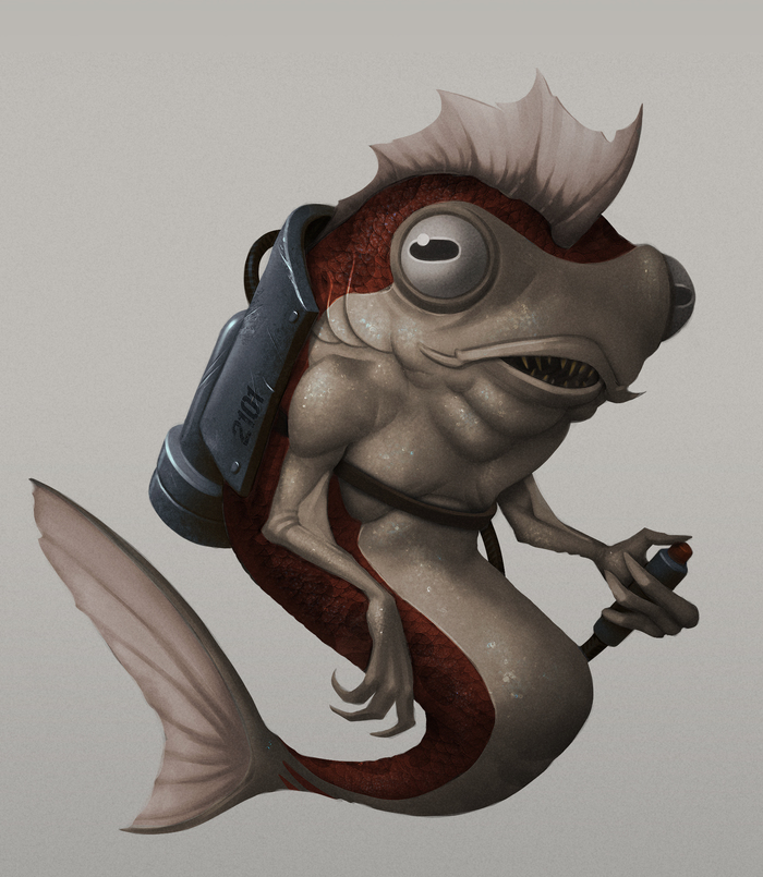 Рыб на джетпаке Рисунок, Процесс рисования, Digital, Компьютерная графика, Иллюстрации, Рыба, Джетпак, Photoshop, Гифка, Длиннопост