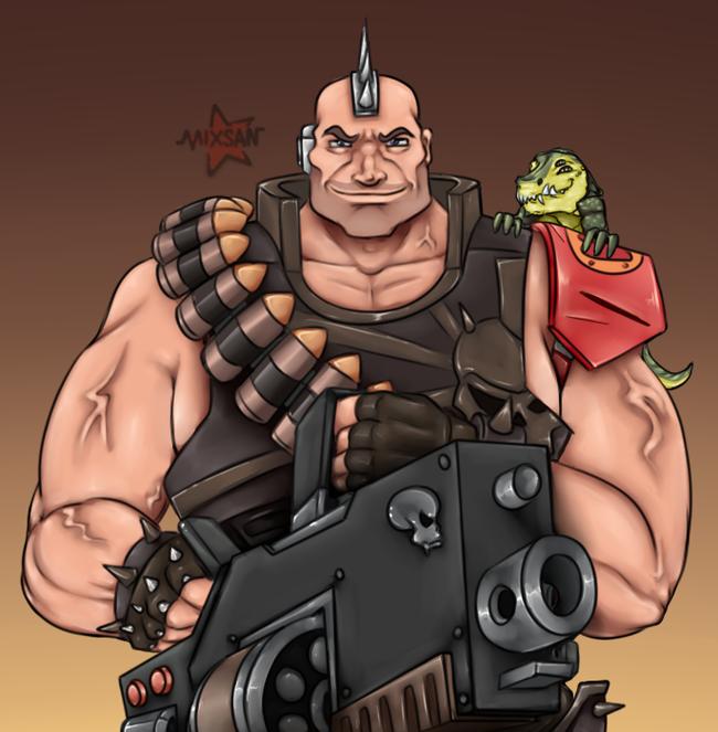 CrossMunda: Голиафы Wh Art, Necromunda, Warhammer 40k, House Goliath, Crossover, Длиннопост