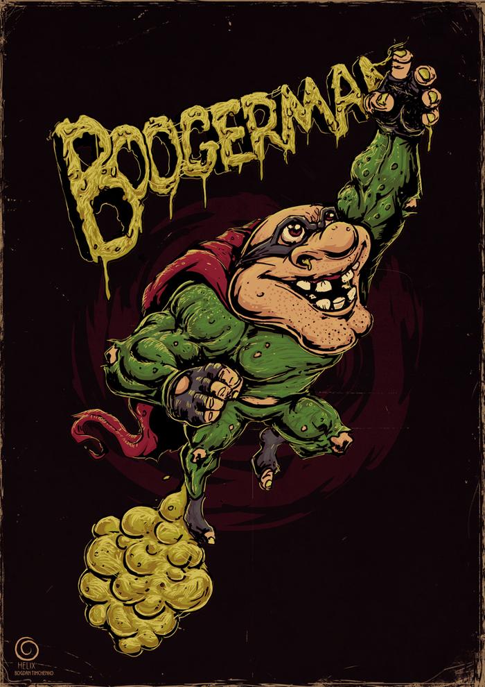 Бугермен Boogerman, Sega, Sega Mega Drive, Длиннопост, Игры, Консольные игры, Рисунок, Цифровой рисунок