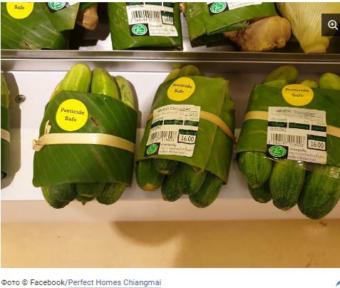 """Первые супермаркеты отказались от пластика и перешли на """"банановые"""" упаковки Упаковка, Банановые листья, Экология, Длиннопост"""