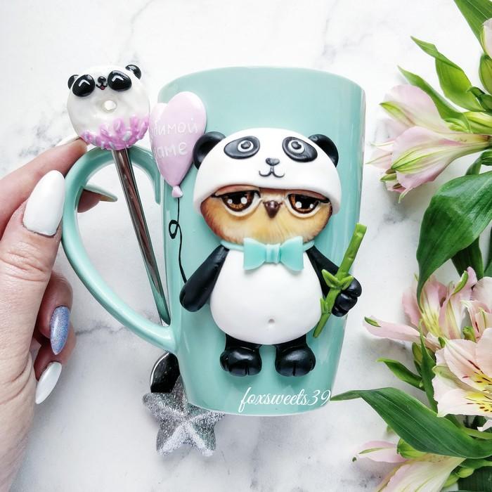 Совушка в костюме панды) Кружка с декором, Ручная работа, Полимерная глина, Сова, Панда, Пончики, Оригинальный подарок