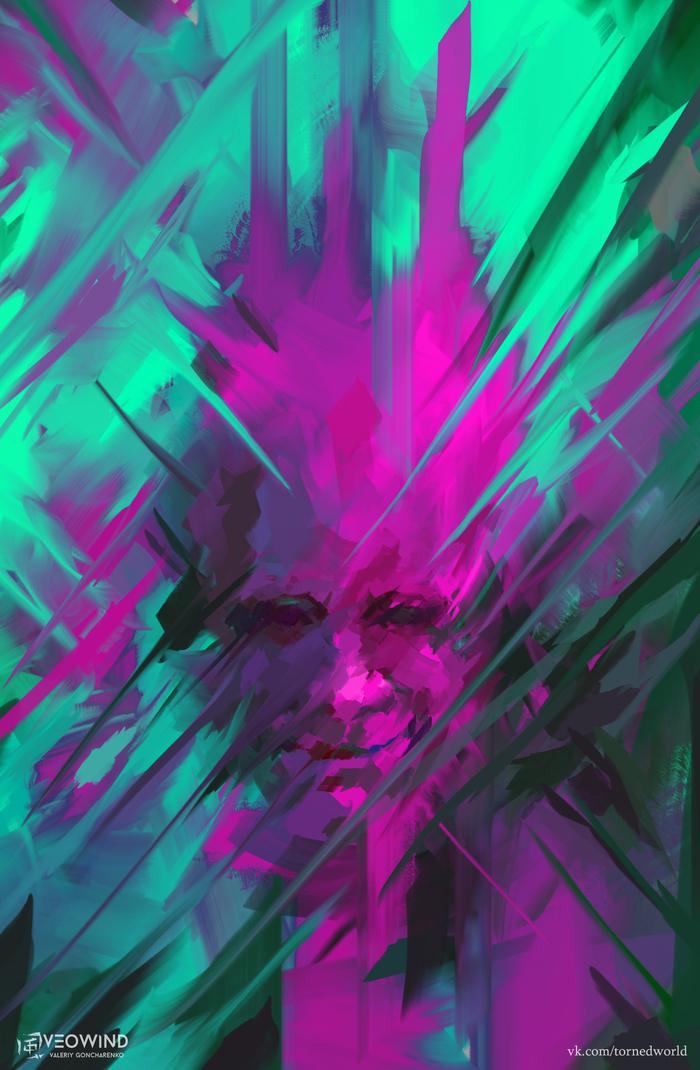"""Эксперимент. """"/?:[????/]"""" Veowind, Цифровой рисунок, Рисунок, Цвет, Эксперимент, Портрет"""