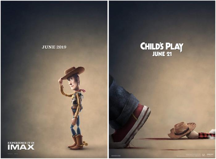 В июне 2019 выходят 4 часть «Истории игрушек» и «Детские игры» (перезапуск серии фильмов про куклу Чаки). История игрушек, Детские игры, Одно Кино, Постер