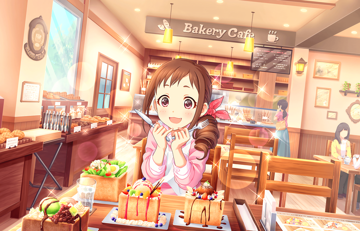 Девочка и куча сладостей Anime Art, Anime Original, Аниме, Арт, Красивая девушка, Девочка, Idolmaster, Сладости