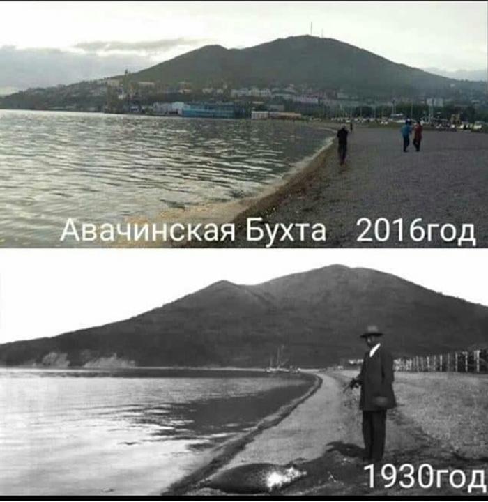 86 лет прошло Камчатка, Бухта, Сравнение, Старое фото