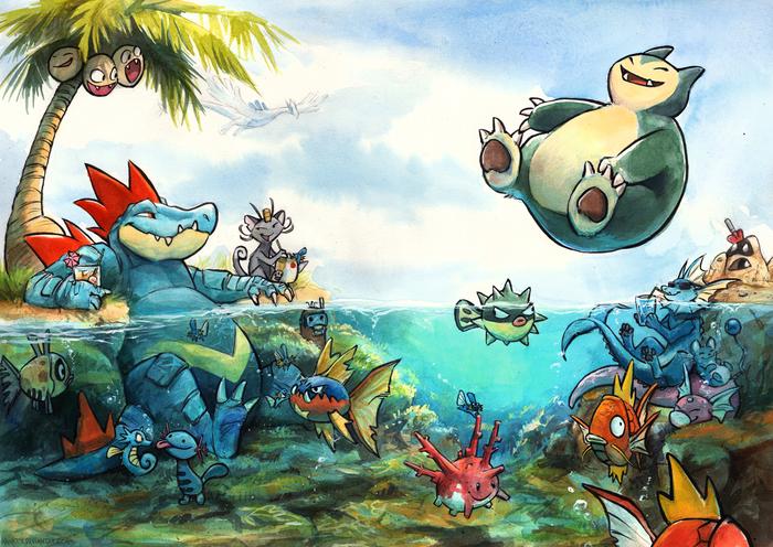 Pokepool Party Покемоны, Арт, Традиционный арт, Snorlax, Meowth, Меджикарп, Пляж, Kenket