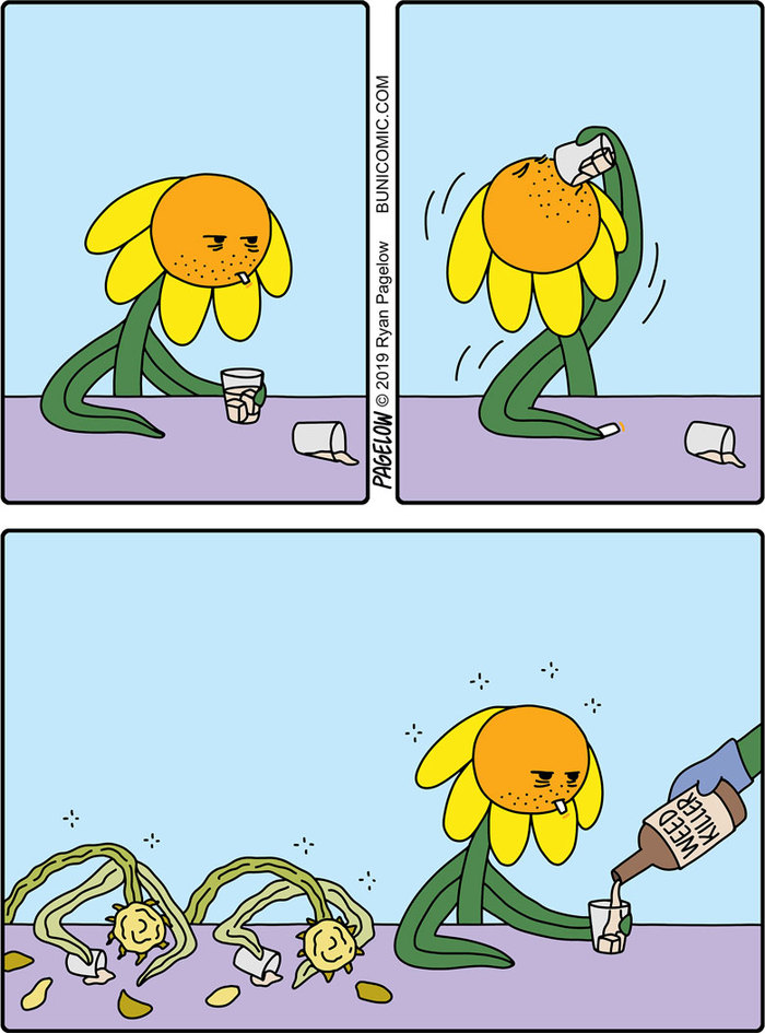 Забухавший цветок Buni, Pagelow, Цветы, Напился, Комиксы