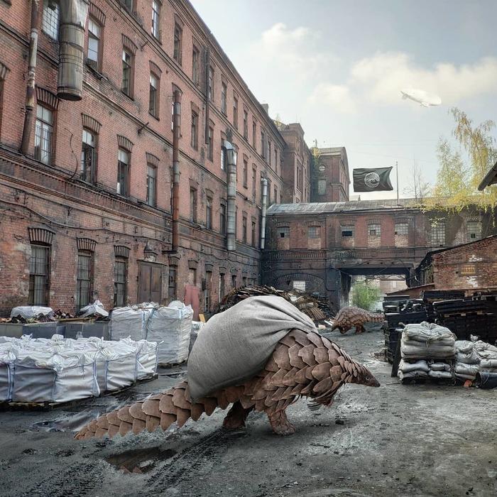 «Бестиарий Петербурга» #3 — разумные панголины Бестиарий Петербурга, Панголины, Урбанизм, Photoshop