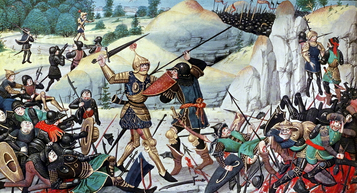 Битва в Ронсевальском ущелье Карл Великий, Средневековье, Франки, Баски, История, Рыцарь, Битва, Длиннопост