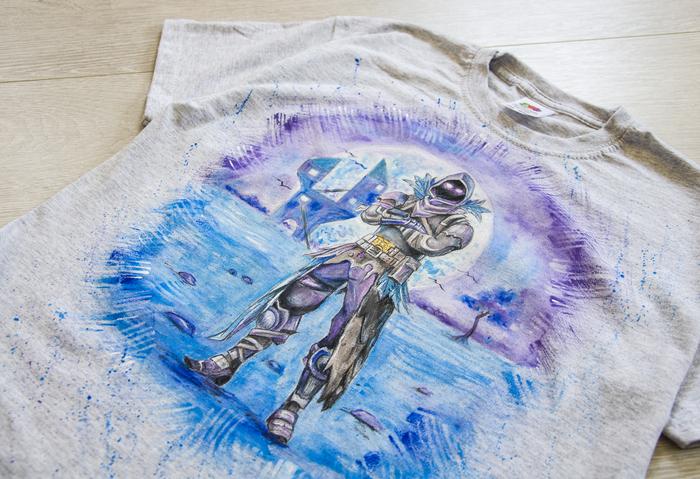 Футболка с ручной росписью. Fortnite Fortnite, Роспись по ткани, Футболка, Ворон, Длиннопост