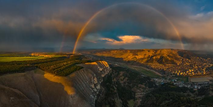 Радуга над долиной реки Фотография, Радуга, Красота природы, Россия