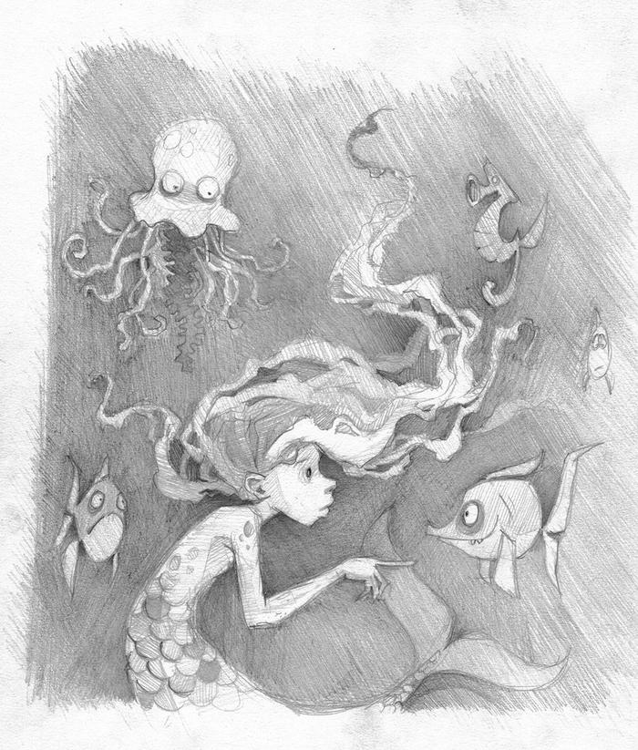 Странные сказки Рисунок, Русалка, Динозавры, Ведьмы, Длиннопост, Графика, Рисунок карандашом, Сказка
