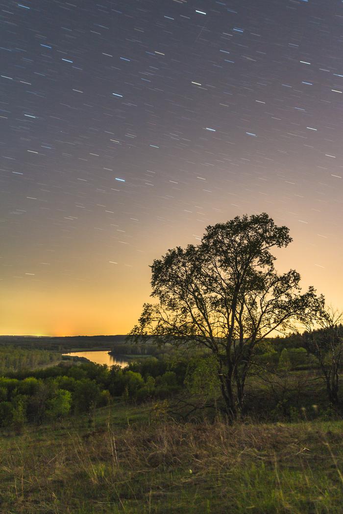 Ожидание солнца. Звёздные треки, Астрофото, Пейзаж, Башкортостан, Длинная выдержка