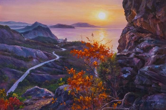 Закат среди гор Картина, Пейзаж, Горы, Крым, Море, Закат, Искусство, Картина маслом