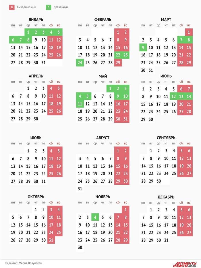 Календарь выходных и праздничных дней в 2020 году Россия, Праздники, Выходные, 2020, Развлечения, Новости, Календарь, Роструд