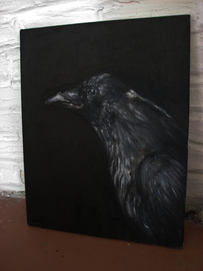Чёрный ворон.Холст,масло. Черные вороны, Картина маслом, Холст, Ворон, Длиннопост, Птицы, Анималистика, Картина, Масло