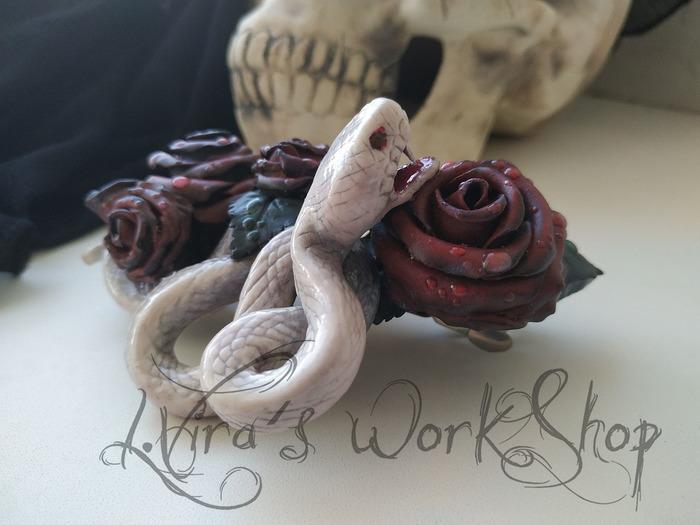 Моя змейка))) Заколка, Змея, Ручная работа, Рукоделие без процесса, Длиннопост