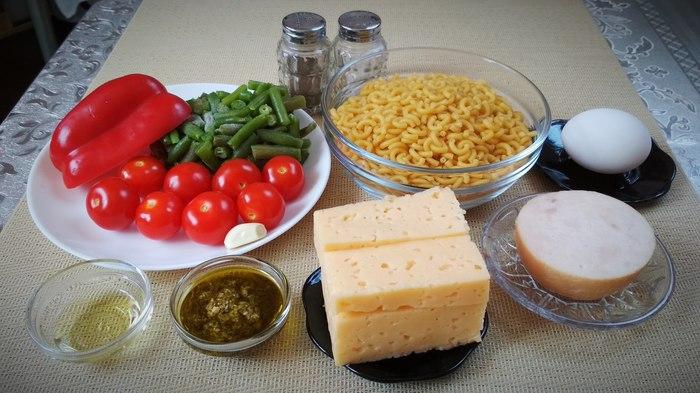 Обед для всей семьи на раз, два, три! Рецепт, Жуй-Ка!, Макароны, Ветчина, Песто, Сыр, Длиннопост