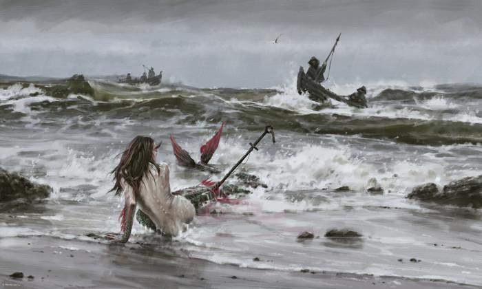 Последняя русалка северных морей Арт, Рисунок, Русалка, Якуб Розальски, Jakubrozalski