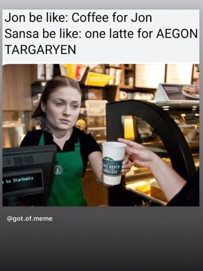Если бы Санса работала в Старбакс Игра престолов, Санса Старк, Шутка, Кофе, Starbucks