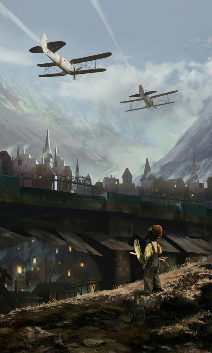 Юный мечтатель Арт, Горы, Город, Самолет, Авиация, Мечта, Дети, Рисунок