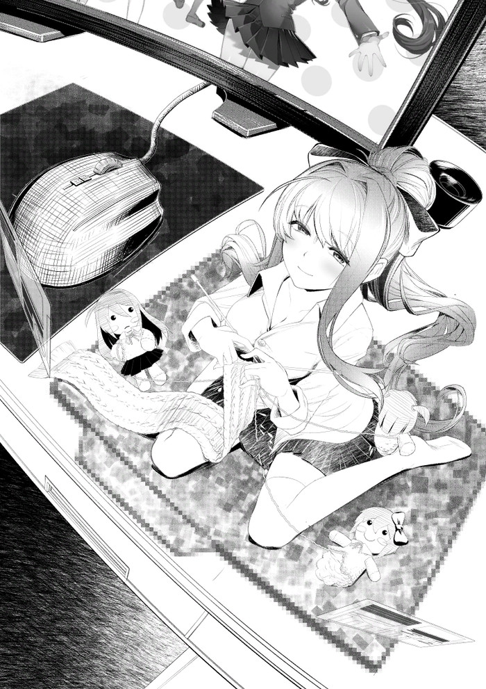Just for you Doki Doki Literature Club, Monika, Anime Art, Визуальная новелла, Sayori, Natsuki, Yuri DDLC, Черно-Белое