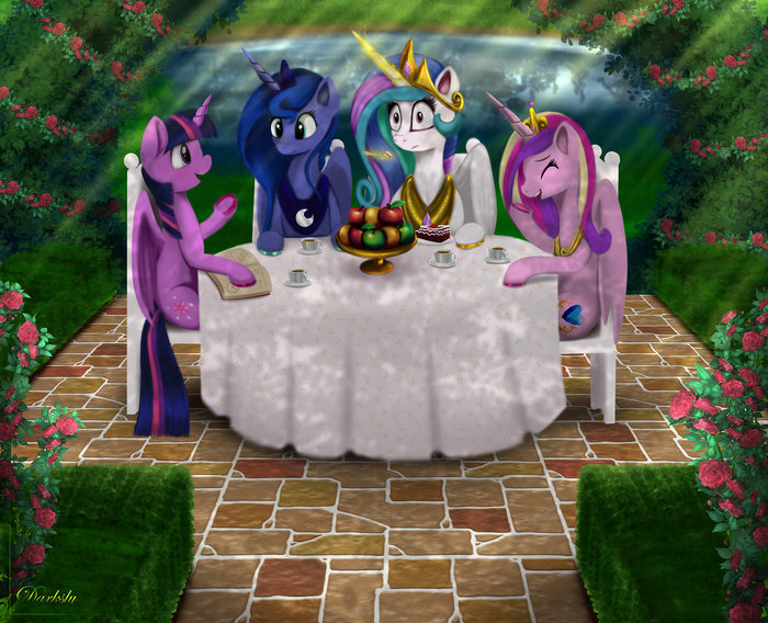 Alicorn Tetrarchy My Little Pony, Twilight Sparkle, Princess Luna, Princess Celestia, Princess Cadance, Darksly-z