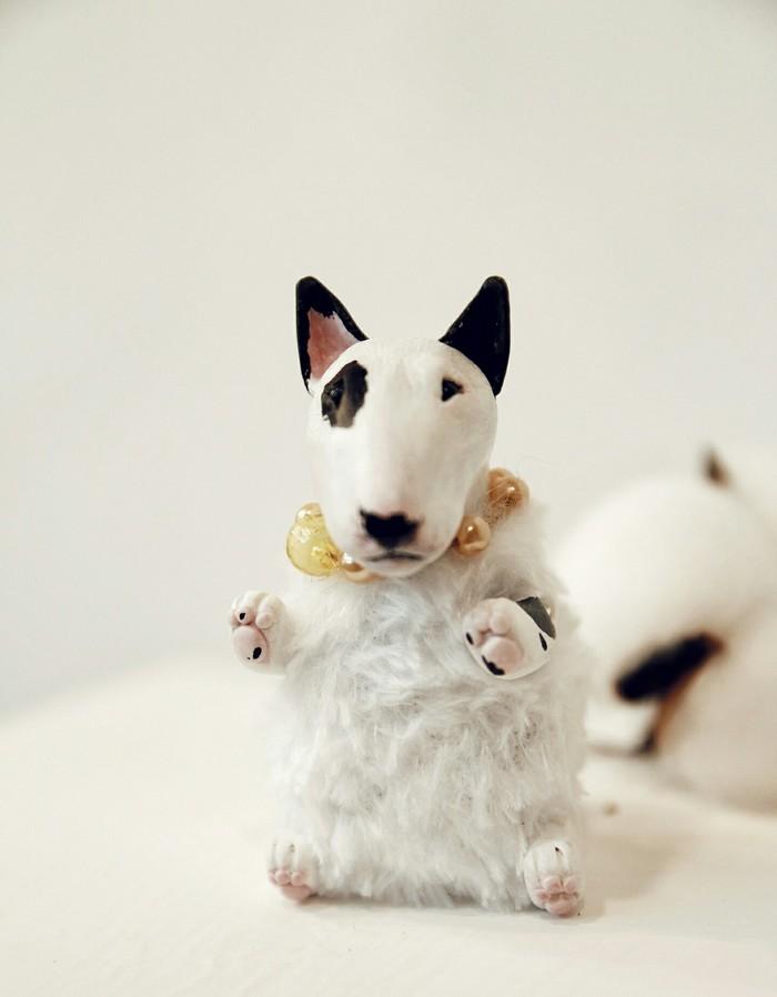 Бультерьер в смешанной технике. Полимерная глина, Скульптура, Собака, Бультерьер, Ручная работа, Авторская игрушка, Длиннопост