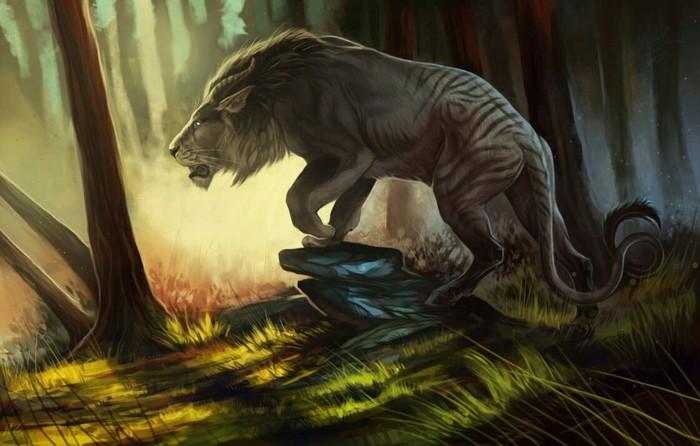 Рогатый лигр Арт, Рисунок, Лигр, Тигр, Лев, Белый тигр, Лес, Фэнтези
