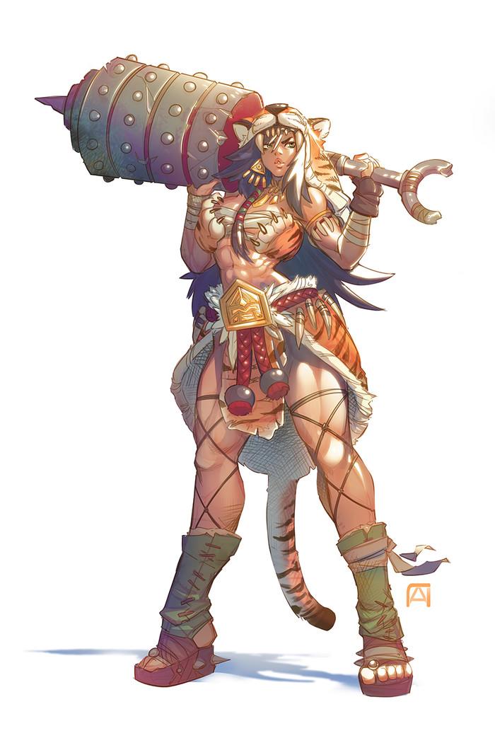 Ulyth the barbarian Lpchan, Арт, Крепкая девушка, Фэнтези, Варварша, Воительница