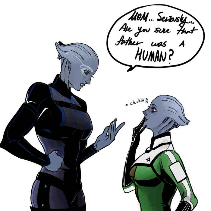 Дочь  Шепарда Mass Effect, Liara T'Soni, Юмор, Семья