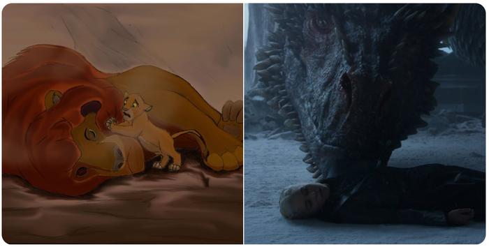 Самый трогательный момент из мультфильма Король Лев перекочевал в самый трогательный момент сериала Игра престолов