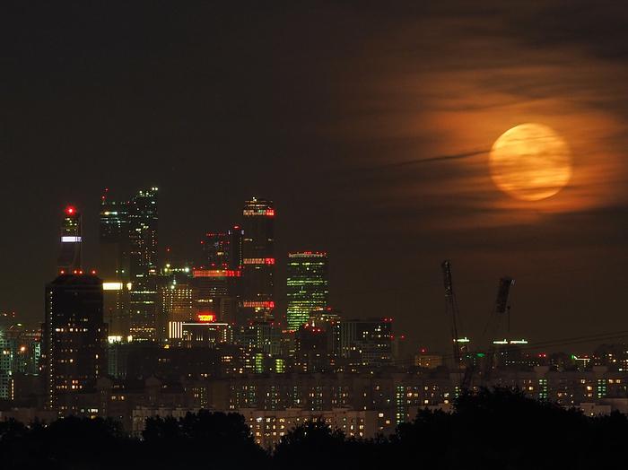 Восход Луны над Москвой Луна, Москва, Москва-Сити, Восход луны