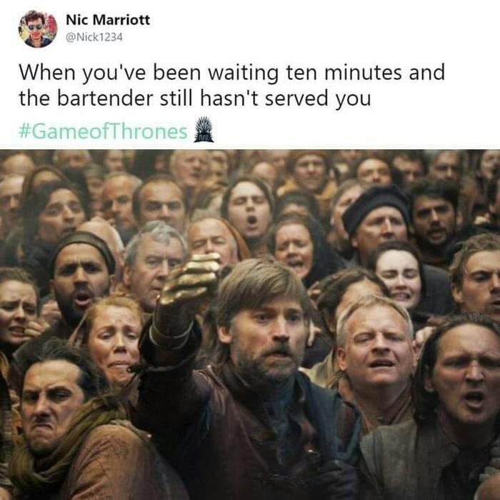 Когда прождал десять минут, но бармен всё ещё не обслужил тебя