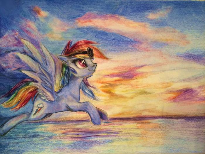 Золотые небеса My Little Pony, Rainbow Dash, Арт