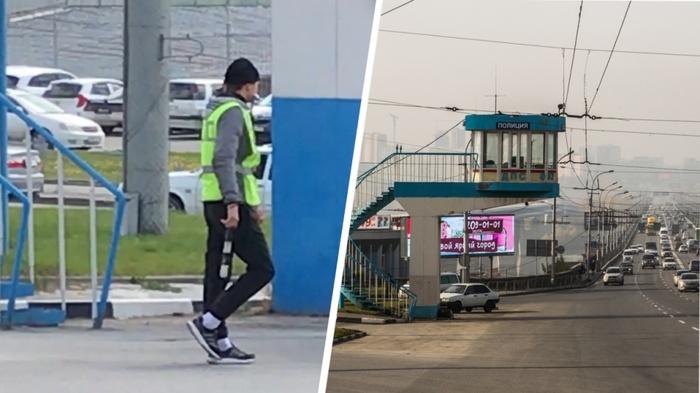 В Новосибирске на Коммунальном мосту появился чёткий гаишник в трико и кроссовках Сибирь, Новосибирск, ГИБДД, Трико, Сотрудники ДПС, Новости, Видео