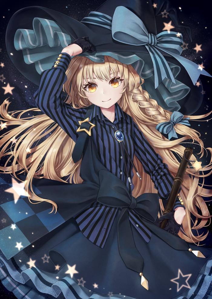 Kirisame Marisa Touhou, Kirisame Marisa, Anime Art, Аниме, Не аниме, Dtvisu