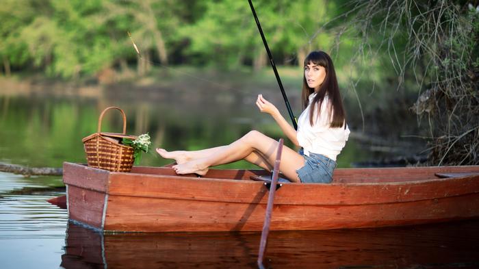 THE art Of Phishing Рыбалка, Девушки, Портрет, Река, Лодка