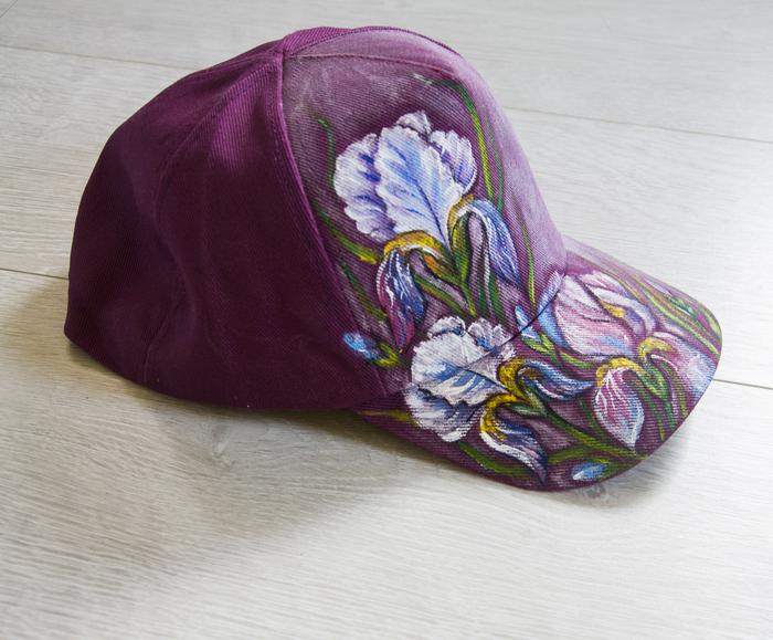 Ручная роспись кепки, ирисы Ирисы, Ручная работа, Роспись по ткани, Цветы, Длиннопост